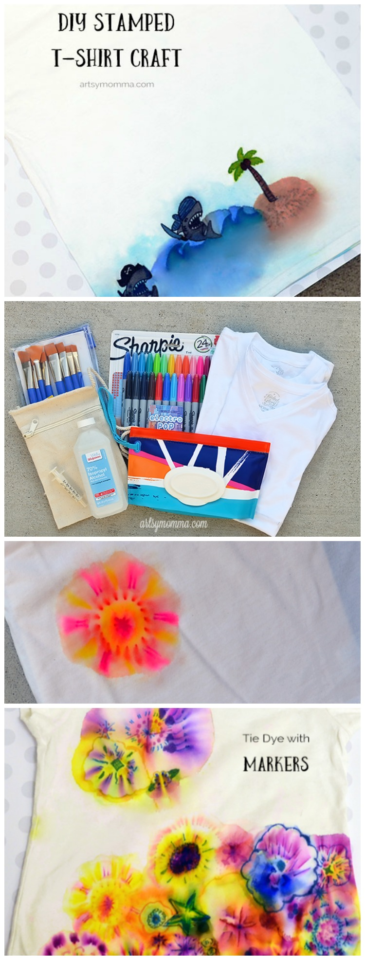 Using Stamps & Sharpies to Design T-shirt with Kids