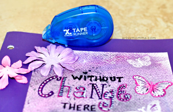 Use a Xyron Tape Runner to Adhere Flowers to Artwork
