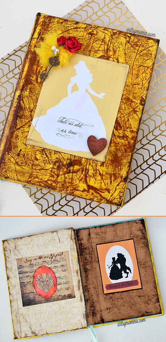 "Distressed Ink Journal Tutorial inspired by Beauty & the Beast Quote ""Tale As Old As Time"""
