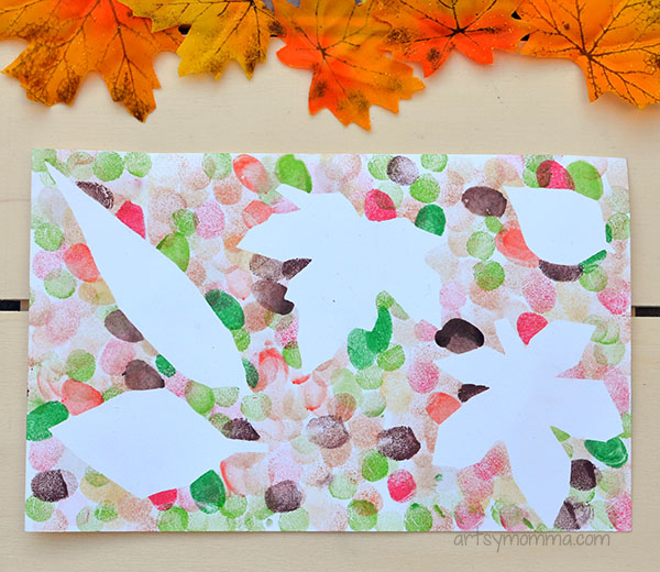 Autumn Leaf Painting with Fingerprints Craft Idea for Kids
