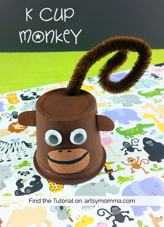 Recycled K Cup Monkey Craft for Kids