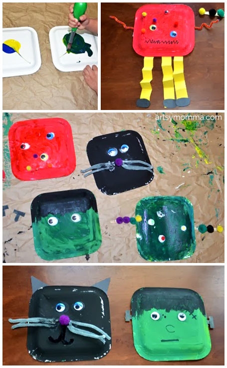 Easy Halloween Craft - Frankenstein, Black Cat, and Monsters