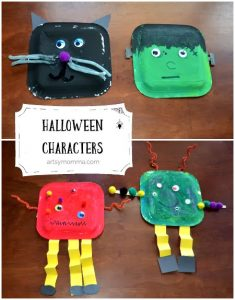 Black Cat, Frankenstein, and Monsters made from Square Paper Plates