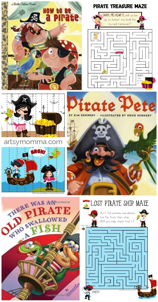 Printable Pirate Puzzles for Talk Like a Pirate Day + Books About Pirates and Books About Pirates