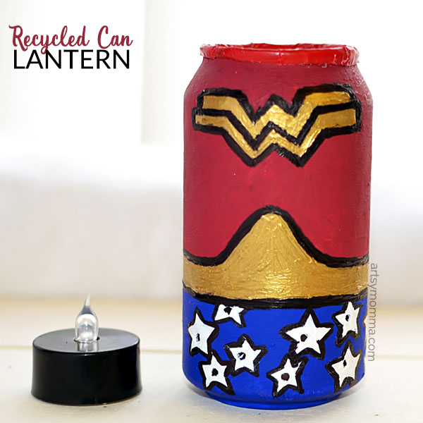 Wonder Woman Candle - Lantern made from a recycled aluminum can