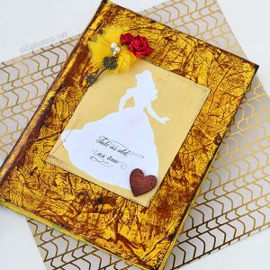 DIY Distressed Ink Journal Inspired By Beauty & The Beast Song Lyrics