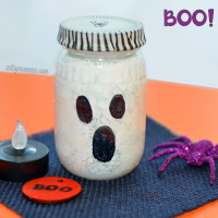 Boo'tiful Upcycled Jar Ghost Lantern Using Glass Graffiti