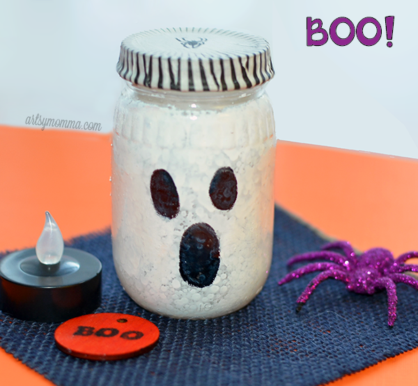 Boo'tiful Upcycled Jar Ghost Lantern Using Glass Graffiti