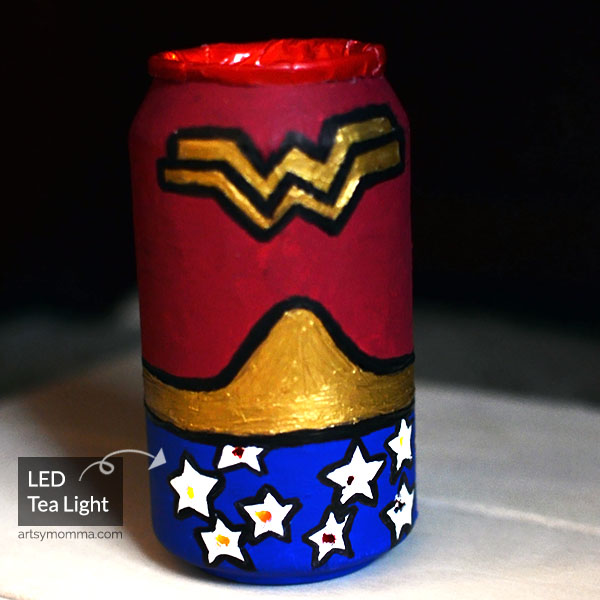 Repurposed Soda Can Craft: Wonder Woman Lantern