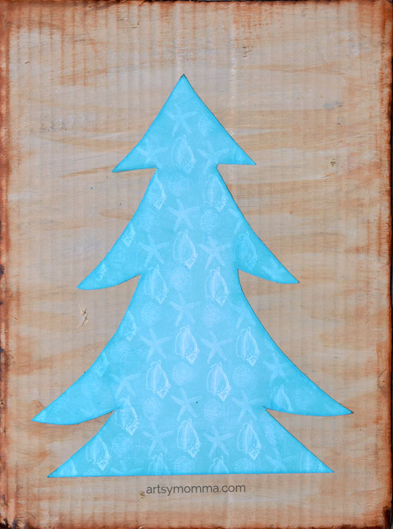 Chalk Ink Christmas Tree Project - Beach Themed