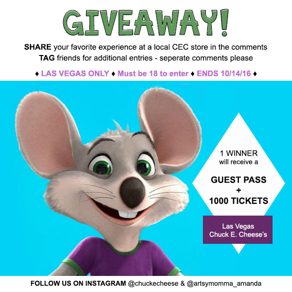 Giveaway for a guest pass + 1000 tickets to visit Chuck E. Cheese's