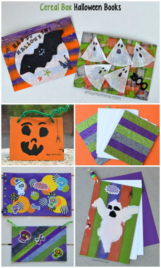 DIY Cereal Box Halloween Book Craft Tutorial for Kids - Cereal Box Halloween Book Crafts for Kids - Inexpensive DIY activity for the whole family! Use them as sketch pads, art books, journals, notes, memories, and more!