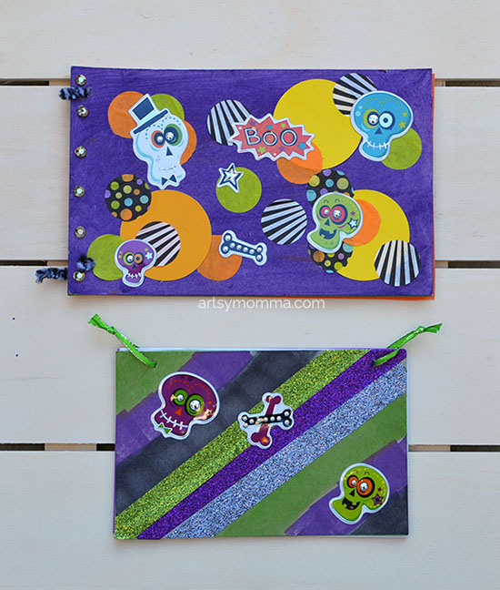 Halloween Craft Idea: Sparkly Skeleton Sketch Books made from cardboard