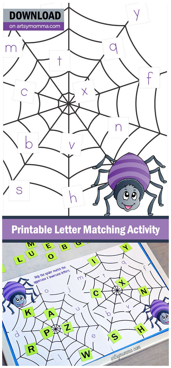 Uppercase Lowercase Letter Matching Activity for Preschoolers - Halloween Spider Web Printable
