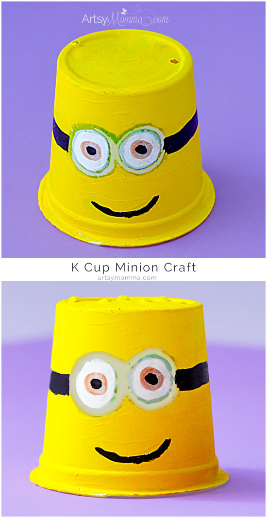Obsessed with Minions? Make these adorably fun Recycled K Cup Minions Craft idea with the kids!
