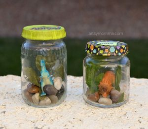 Mini Dinosaurs In A Jar Craft - Pretend Play Idea for Kids