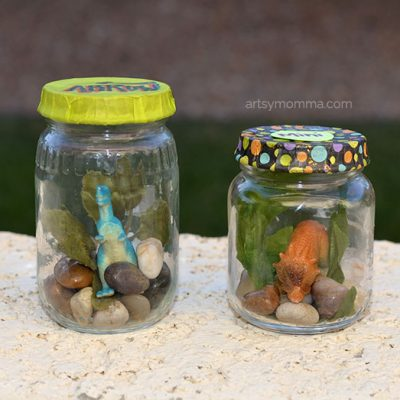 Mini Dinosaurs in a Jar Craft + Pet Dinosaur Books