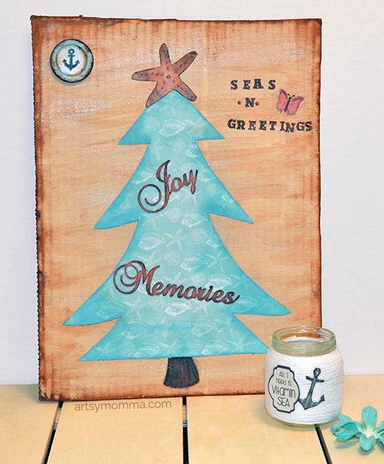 Nautical Christmas Tree Sign and Seas -n- Greetings Saying