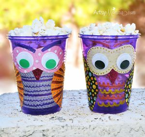 Plastic Cup Owl Craft and Popcorn Holder