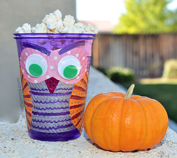 Make a plastic cup owl snack cup with the kids!