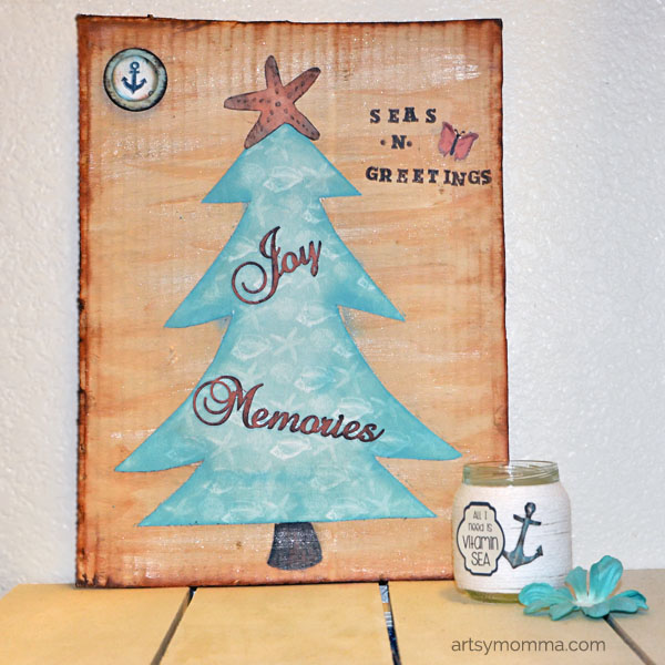 DIY Beach Themed Christmas Sign - Seas & Greetings Saying