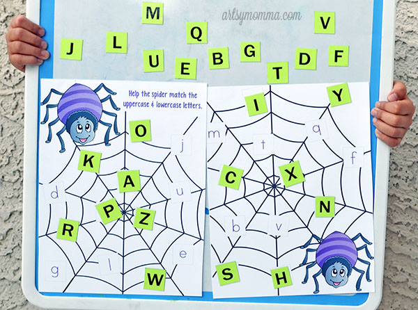 Spider Web Letter Matching with Tile Magnets