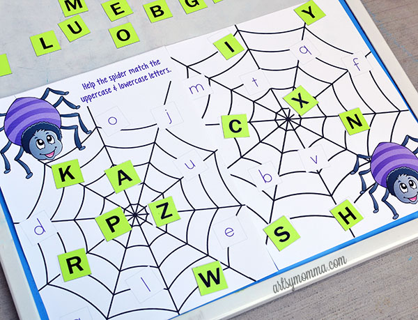 Preschool Alphabet Matching Printable - Spider Theme