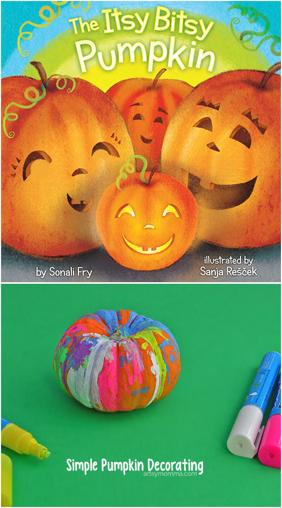 Quick & Simple - Decorate pumpkins with Fun Chalk Markers! Adorable Itsy Bitsy Pumpkin book.