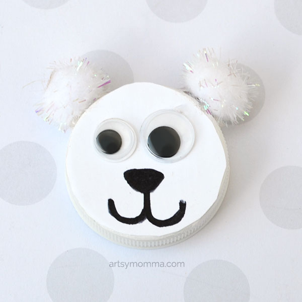 Polar Bear Bottle Cap Craft for Kids to Make