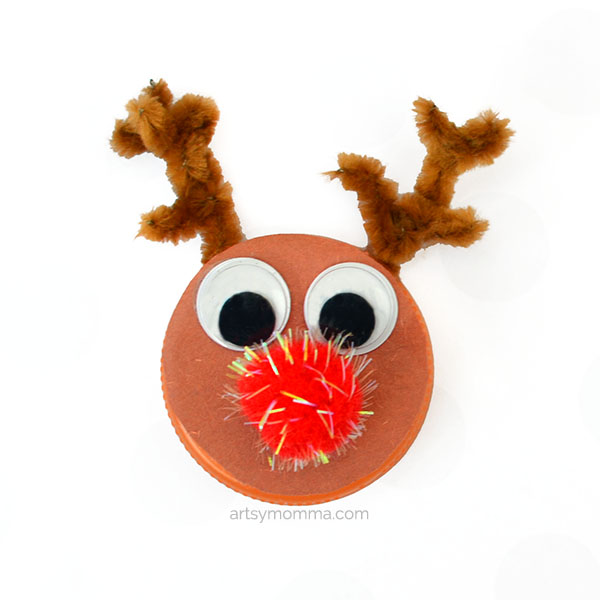 How to make a Recycled Rudolph the Red-Nosed Reindeer Bottle Cap Ornament