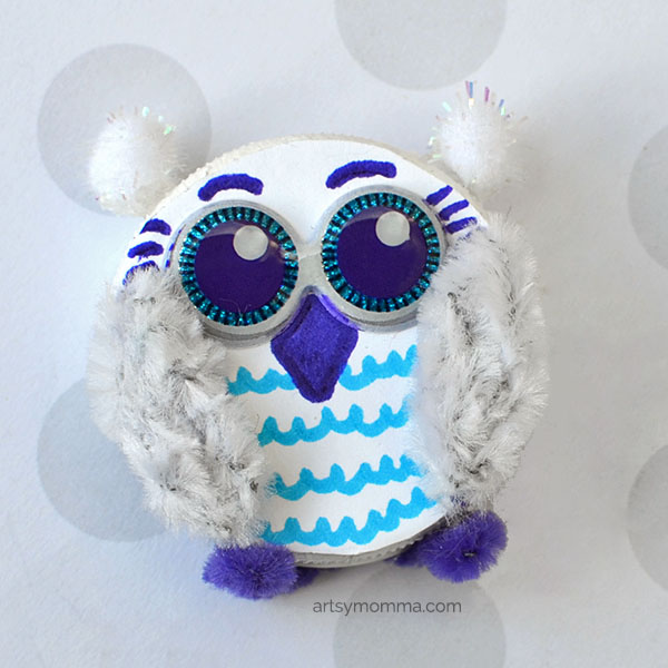 Recycled Bottle Cap Art - Snowy Owl Ornament Craft Idea for Kids