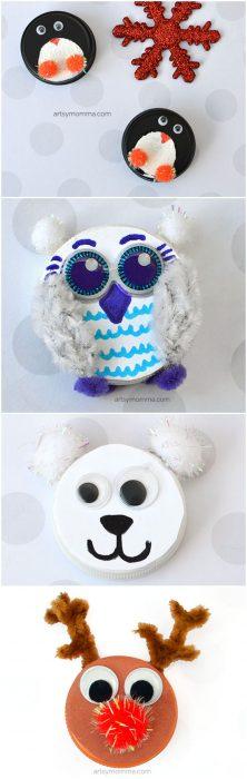 Recycled Bottle Cap Christmas Character Ornaments - Snowy Owl, Polar Bear, Penguin, & Reindeer