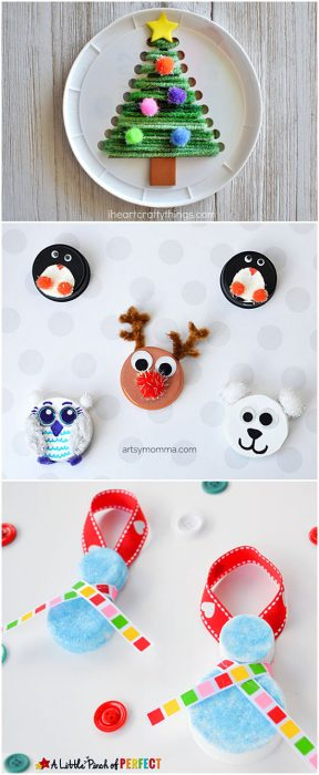 Recycled Plastic Lids Christmas Craft Ideas for Kids