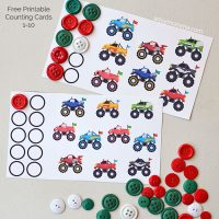 Monster Truck Counting Printables for Preschoolers