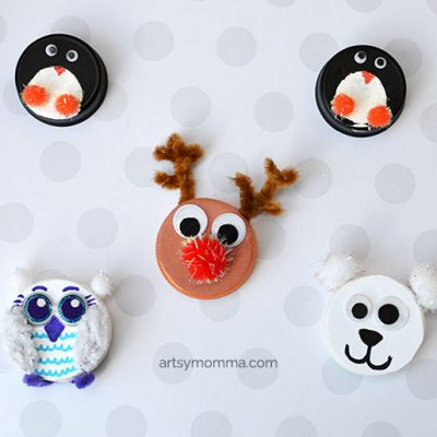 Cute Recycled Bottle Cap Winter Animal Ornaments