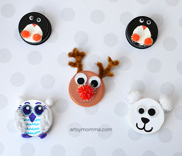 Recycled Bottle Cap Winter Animal Ornaments - Kids Christmas Craft