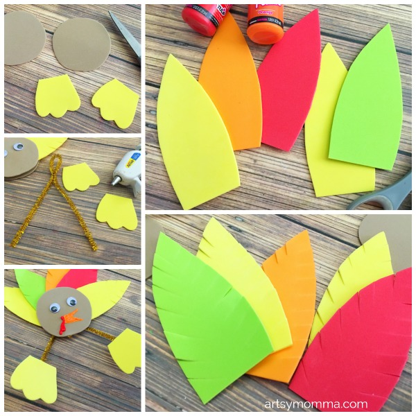 Step by Step Foam Turkey Craft Tutorial