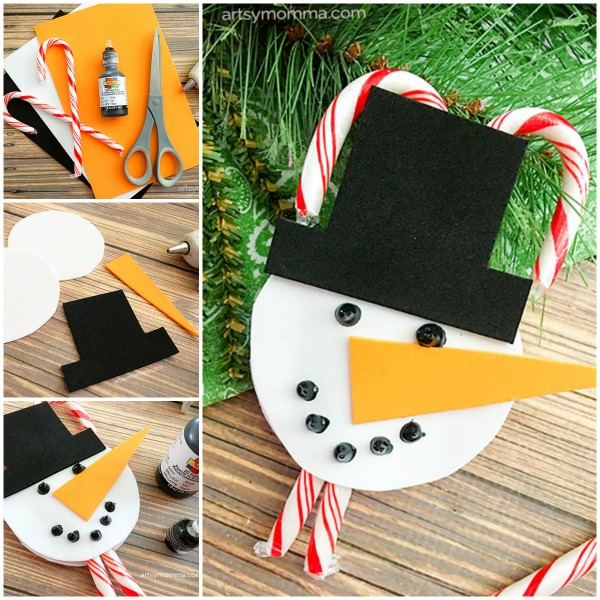 Simple tutorial for creating a candy cane holder Snowman Ornament