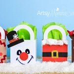 DIY Christmas Character Gift Bag Crafts - Rudolph, Frosty, Santa, & a Gingerbread Cookie