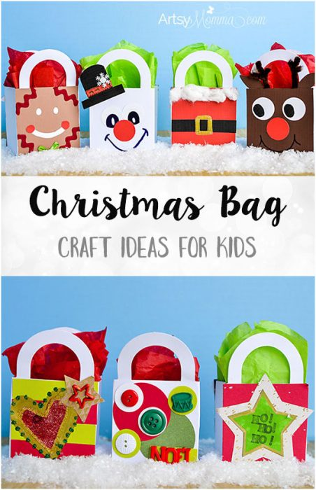 Simple Christmas Gift Bag Craft Ideas for kids of all ages to make!