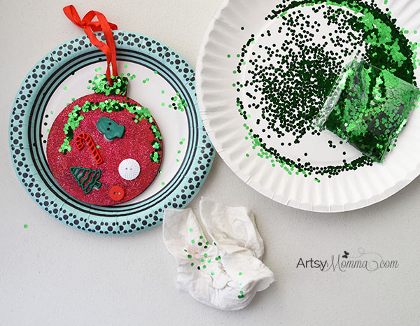 Easy Christmas Button Ornament Idea for Kids