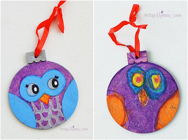 Handmade Owl Ornaments - Kids Christmas Craft