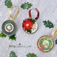 Festive Recycled Jar Lid Ornaments for Christmas
