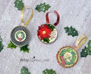 Recycled Lid Ornament Craft using Graphic 45 & Xyron products