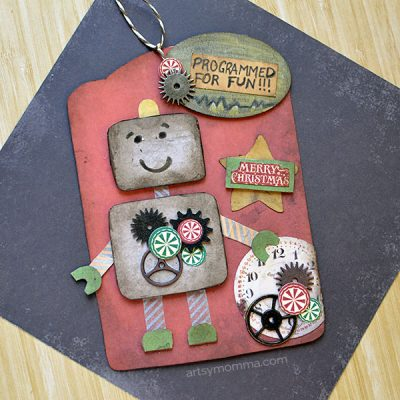 DIY Robot Gift Tag for Christmas