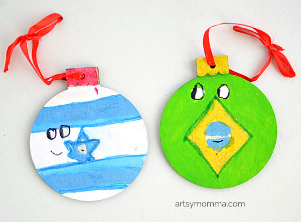 Kid-made World Flag Ornaments