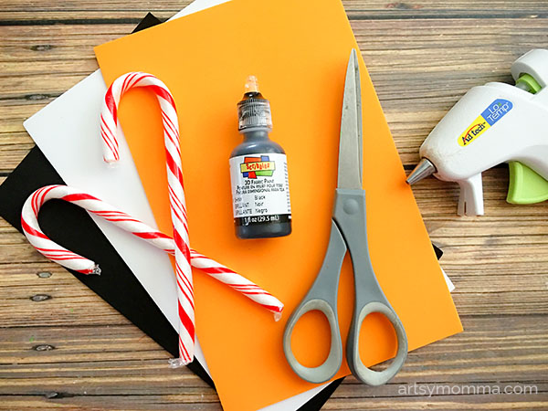 Candy Cane Ornament Craft Idea for Kids - Supplies