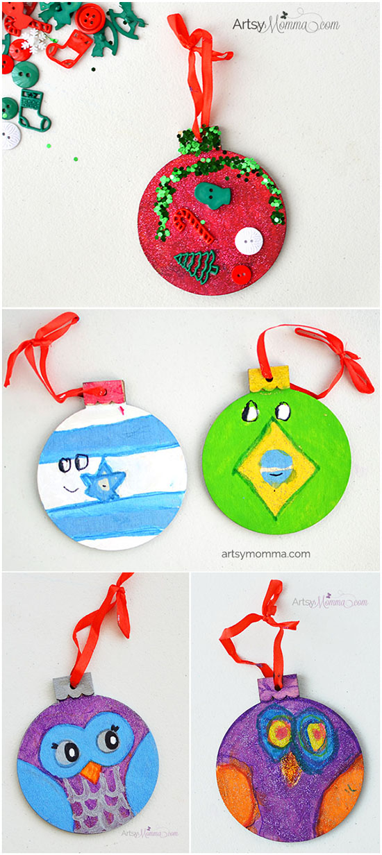 Kids Decorating Ideas for Wood Christmas Ornaments