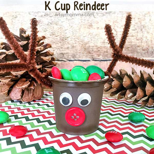 Reuse k cups to make a cute Reindeer Candy Holder Craft