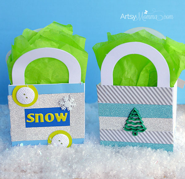 Glitter Washi Tape Winter Gift Bag Craft for Kids
